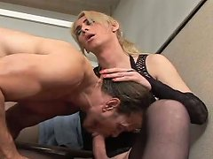 Freaky Blond Haired Lady Boy In Stockings Mouth...
