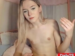 Skinny Blonde Tgirl Sweet Cum