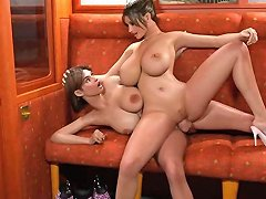 Gorgeous Animated Shemales Make Love In Train