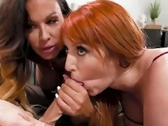 Gorgeous Leggy Blonde Fucks Curvy Redhead Milf And Her Wife